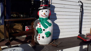 LARGE 42 INCH VINTAGE SNOWMAN ELECTRICFIED  $28.00