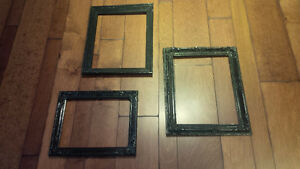 3 Vintage Frames Painted Black - Empty Frames on Wall