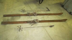 Vintage antique skis and poles