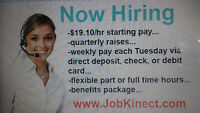 $19.10 hourly wage Immediate start      Watch     |     Share