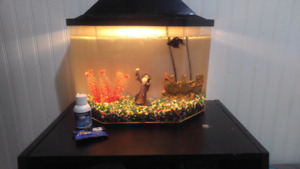 5 Gallon Tank with Betta, Food and Water Conditioner