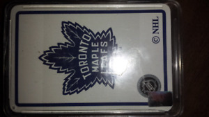 Toronto maple leafs collectable playing cards in plastic case