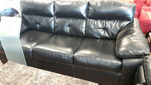 ASHLEY BASTROP LEATHER SOFA AND LOVE SEAT