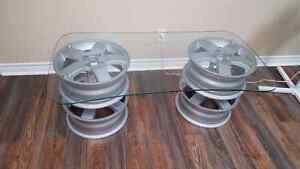 Car wheel coffee table. Perfect for man cave!