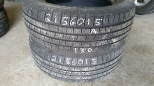 Pair of 2 Motomaster All Season 215/60R15 tires (80% tread life)