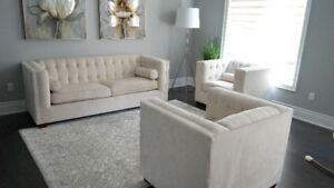 SELLING ::: Tufted Linen Beige Couch Sofa Set Luxury