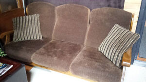 Solid Oak couch and 2 chairs