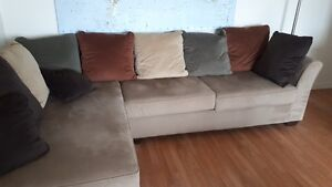Tan Corduroy sectional sofa