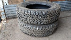 Pair of 2 Goodyear Nordic Winter 235/65R16 WINTER tires (80% tre