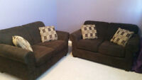 2 Brown Love Seat Couches with Pillows