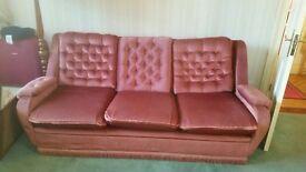 Pink 3 seater sofa