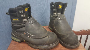 Cat steel toe boots with metatarsal