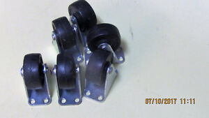 "6 Casters Used.  1 1/2"" diameter.  Base 1 3/4"" x 5/8"""
