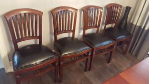 *******10 solid teak dining chairs, leather upholstery*******