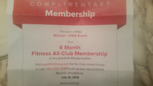 6 month GoodLife Fitness Membership First Come Served