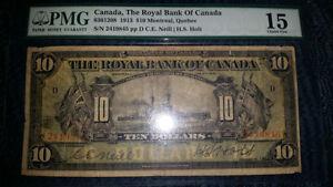 1913 battleship $10 bill graded PMG 15 the Royal Bank of Canada. London Ontario image 2