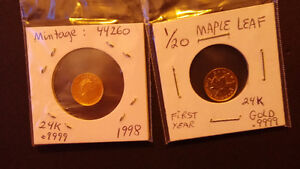 Monnaie: 2 Gold Maple leaf coins: Special Years 1993 and 1998