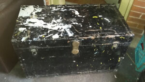 Antique Metal Trunk with tray Insert