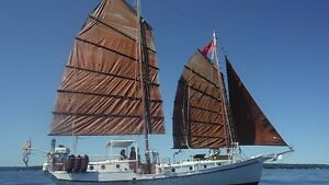 42 foot steel schooner with lug sails for sale