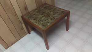 MINT PAIR 1960s SOLID WOOD GRANITE TOP SQUARE END TABLES