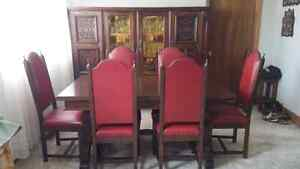 Vintage Hand crafted in Belgium,  dining room set.