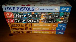 Adult /Yaoi Manga Lot :  Innocent Bird 1-3, Love Pistols 1