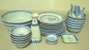 Vintage Chinese Rice Grains Pattern Blue & White Daisy