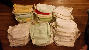 Cloth diapers, cotton insert liners and waterproof covers