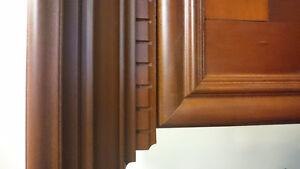Mahogany cabinet mantel.