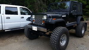 88 jeep yj chevy 350 1 ton axles trade for SxS or 2 4x4 quads