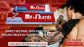 Mr Numb is Pain Free Feeling Relex in Tattoos Procedure