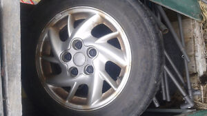 aluminum rims with summer tires all in great shape