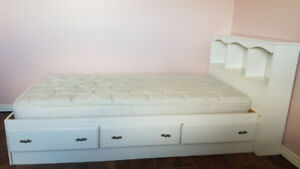 2 White Twin Beds with Drawers and Headboard- One Mattress