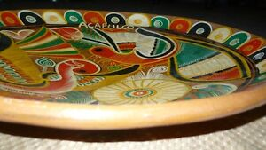 VINTAGE GORGEOUS MEXICAN TALVERA HAND PAINTED BIRDS CLAY PLATE Kitchener / Waterloo Kitchener Area image 7