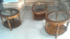Solid oak and glass coffe and two end tables
