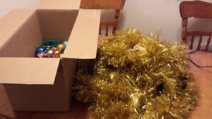 Box of Christmas decorations.