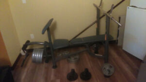Bench   press with 25 lb plates + more