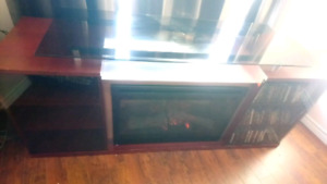 Fireplace entertainment tv stand