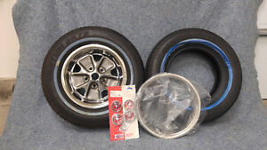 Vintage Mustang Styled Steel Chrome Wheel and Tire Set