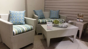 Outdoor Boca Rattan Love Seat, Chair, Coffee Table and End Table