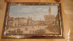 Old Framed Wall Tapestry, Italy Venice St Mark's Square Scenery