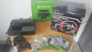 Xbox + Kinect + 3 Controllers + Racing Wheel + 6 New Games.