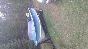 Boat motor and trailer ready to go