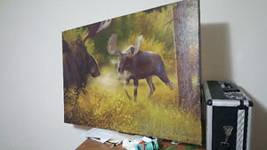 36 by 24 inch Moose Nature Print on Canvas