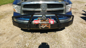 Heavy duty front bumper with 11000 Lb recovery winch with remote
