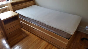 Single Bed (3 drawers and mattress) and night stand