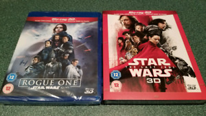 STAR WARS THE LAST JEDI 3D AND ROGUE ONE 3D BLU RAY
