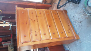 Solid Pine, tallboy dresser. Clear Stain finish $150