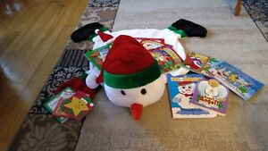 snowman rug with 19 books....