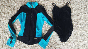 Mondor Black and Blue Dance Jacket (sz 10-12) and black bodysuit